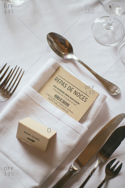 Menu on a wedding reception table