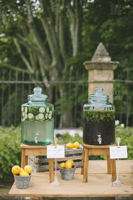 Refreshment dispensers on wedding table