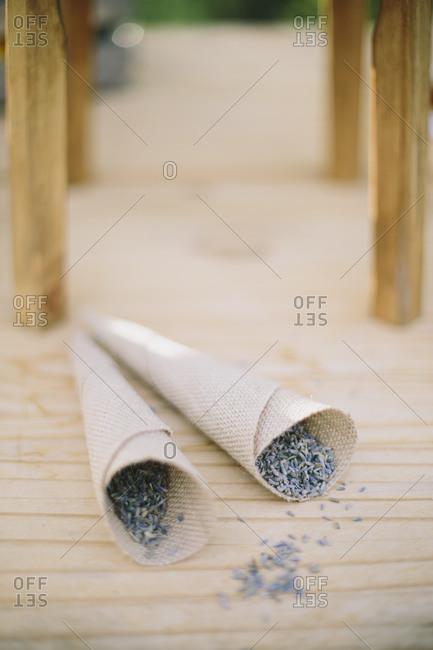 Lavender seeds in cloth cones