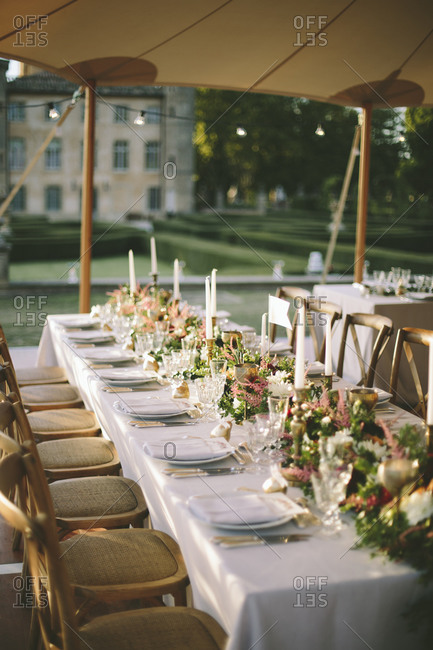 Long tables for outdoor wedding reception
