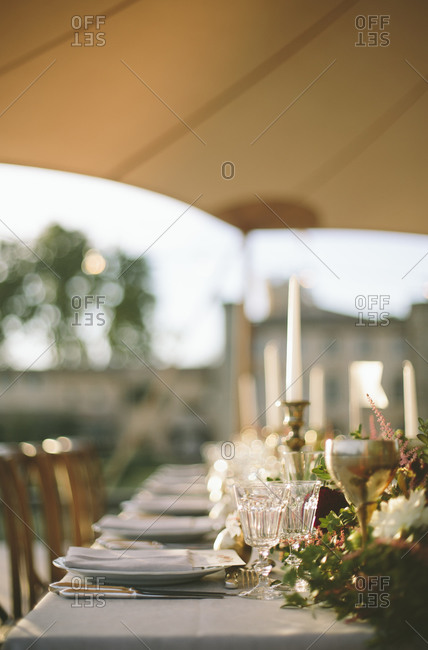 Table set outdoors for wedding reception