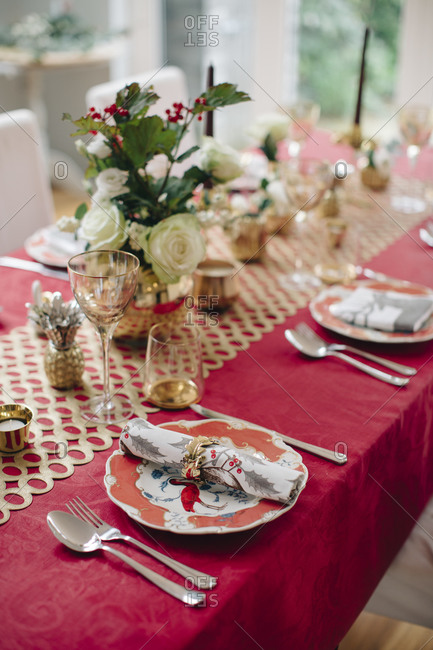 Table set for festive meal