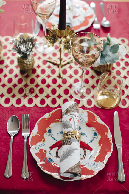 Table settings for festive meal