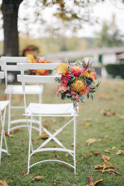 Chairs set for outdoor fall wedding