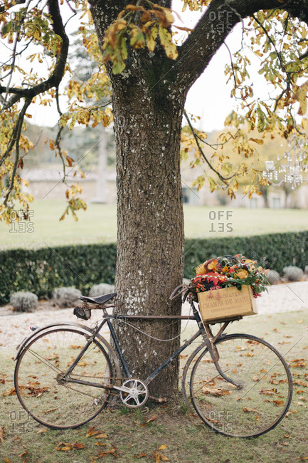 Bike with flower decoration for fall wedding