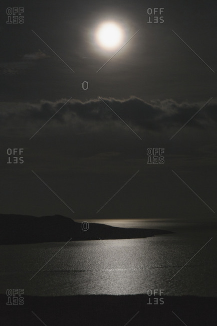 Moonlight reflected on the ocean, Scotland