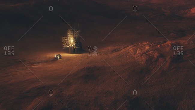 Structure and space capsule on surface of red planet