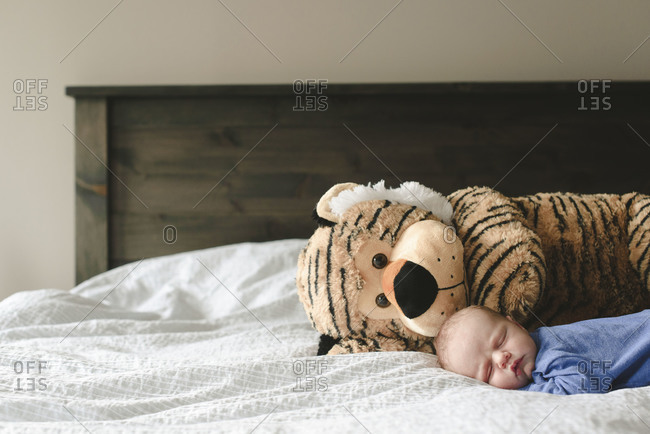 Baby lying on a bed next to a stuffed tiger