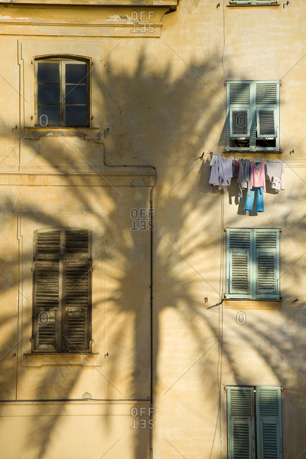 Palm tree shadow on a building in the old city of Menton, Cote d'Azur, France