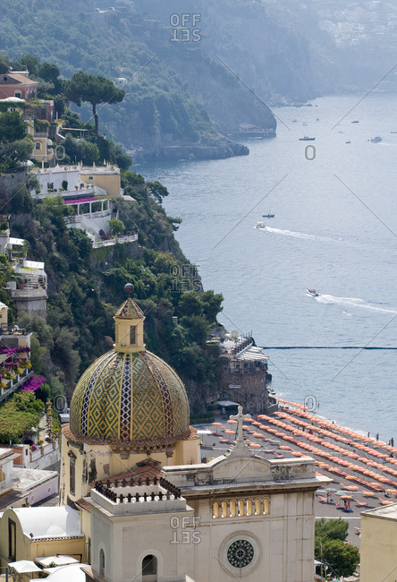 View of architecture and shoreline in Positano on the Amalfi Coast in Italy
