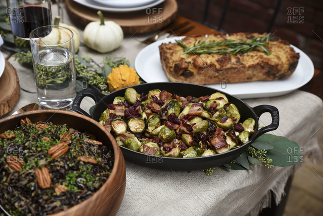 Side dishes on table for holiday dinner party