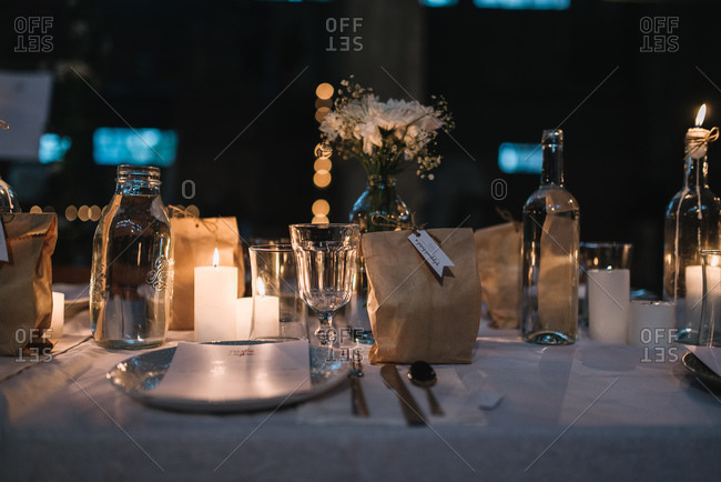 Table setting details at a diner party
