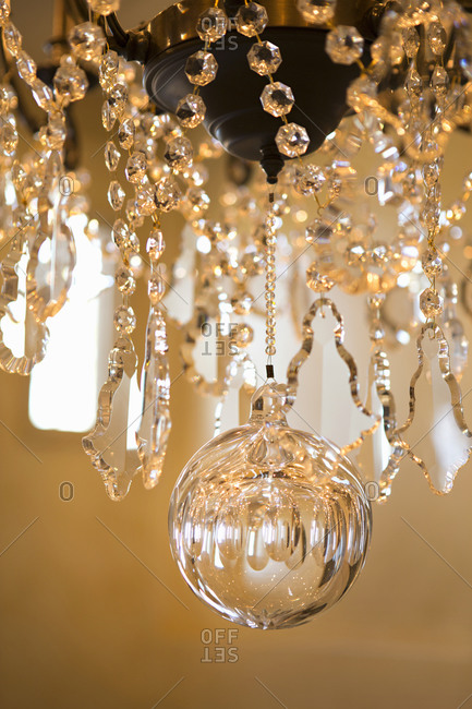 Detail of a crystal chandelier