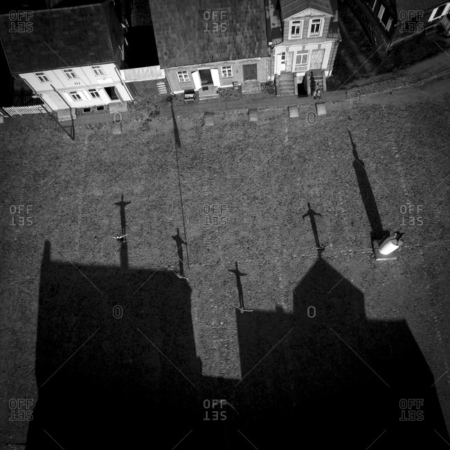 Shadow play on a roof in Rumsiskes, Lithuania