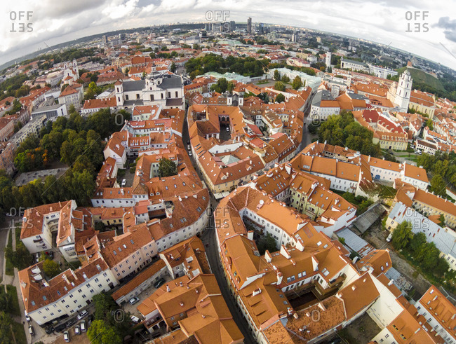 Aerial view of old town, Senamiestis, Vilnius, Lithuania