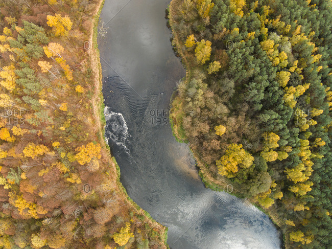 View of the Neris river in autumn in Lithuania