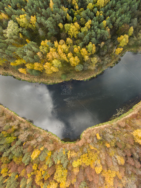View of the Neris river in fall in Lithuania