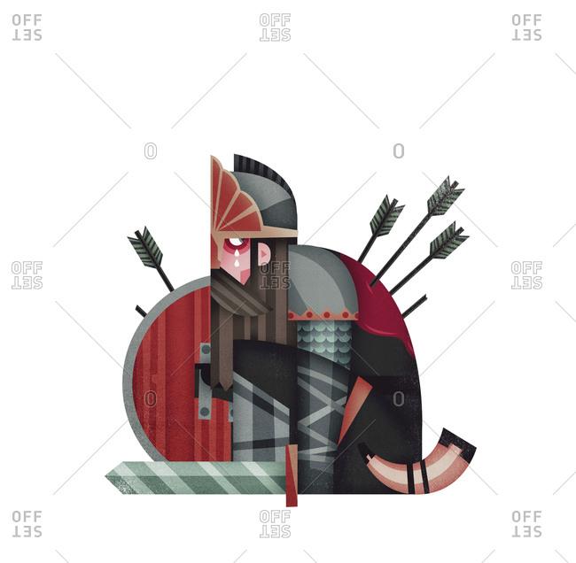 Fallen warrior with arrows in his back