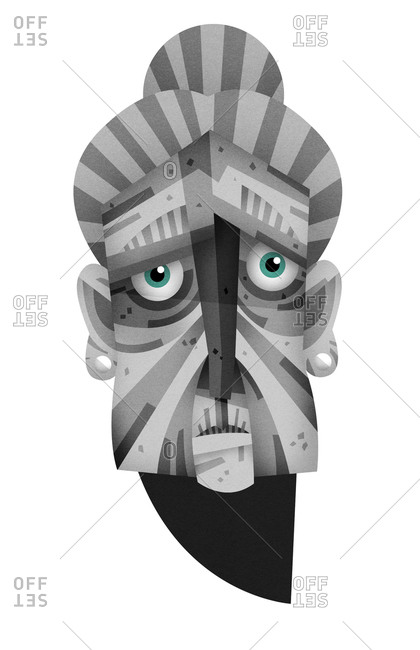 Old woman's face with gray stripes