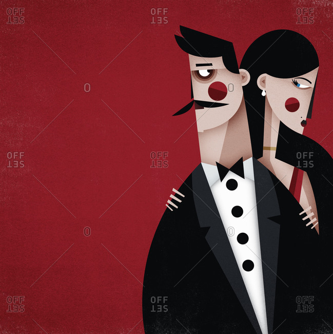 Couple standing  together on a red background