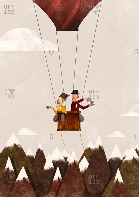 Two men having tea in a hot air balloon