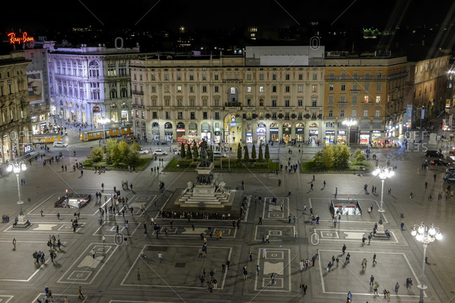 Milan,Italy - September 29, 2015: Cathedral Square at night