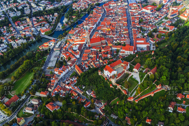 Aerial view of Landshut and Trausnitz Castle