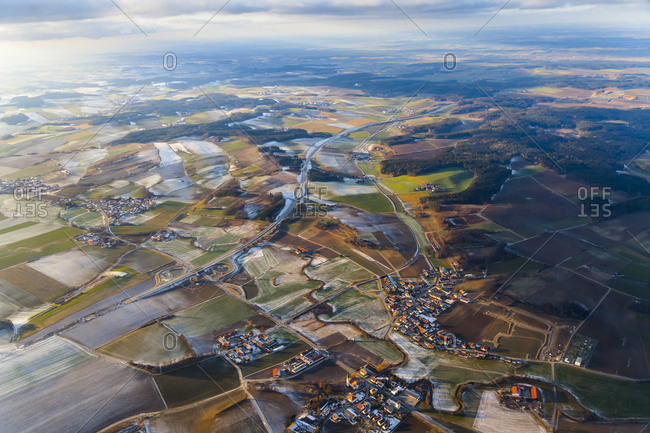 Overhead view of Wolfratshausen in winter