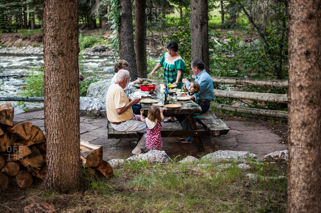 Grandparents and grandchildren eating at a picnic table