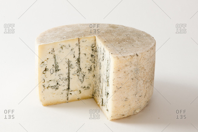 Wheel of rustic style blue cheese