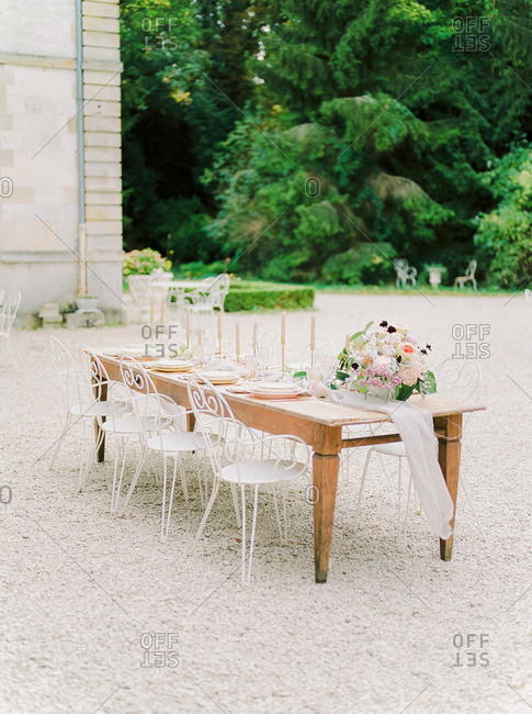 Table at outdoor wedding reception