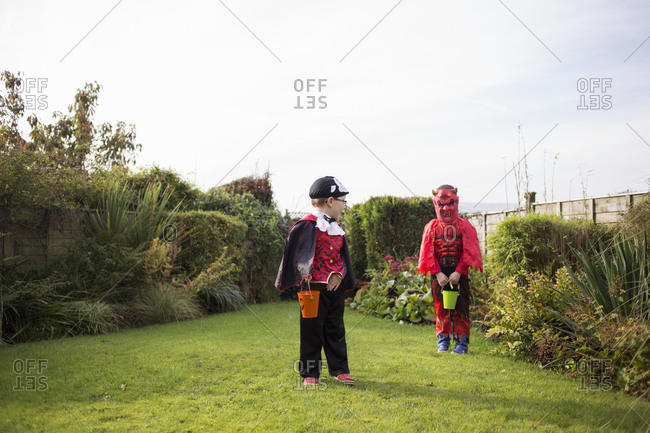 Two little boys in their Halloween costumes