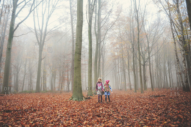Girls in a misty fall woods