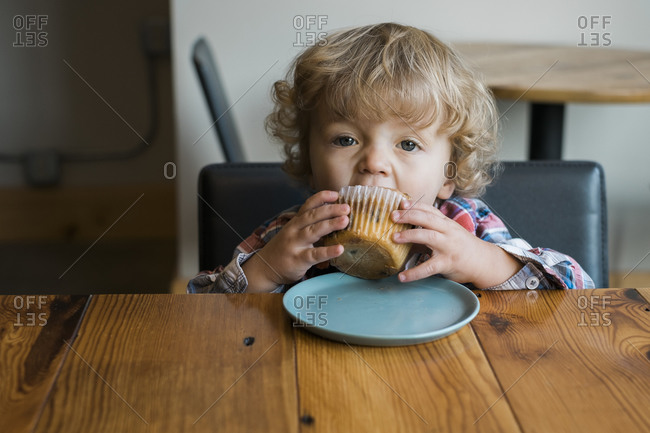 Young boy eating a blueberry muffin