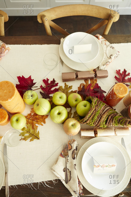 Table set for a Thanksgiving meal