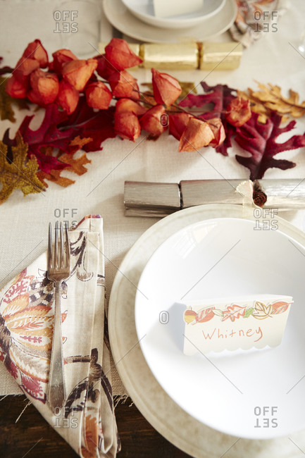Place setting at a Thanksgiving table