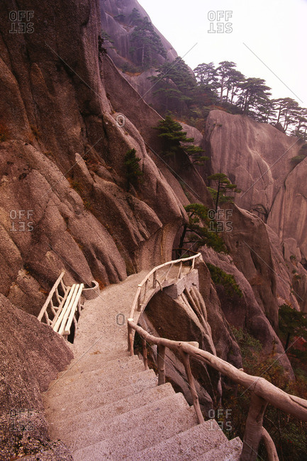 Stairway and Bench, Mount Huangshan, Yellow Mountains, Anhui Province, China