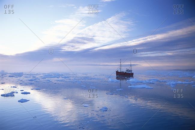Boat at Ilulissat Ice Fjord, Greenland