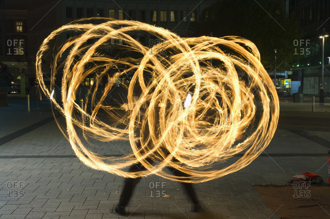 Street Performing Swinging Torches, Cathedral Square, Christchurch, New Zealand