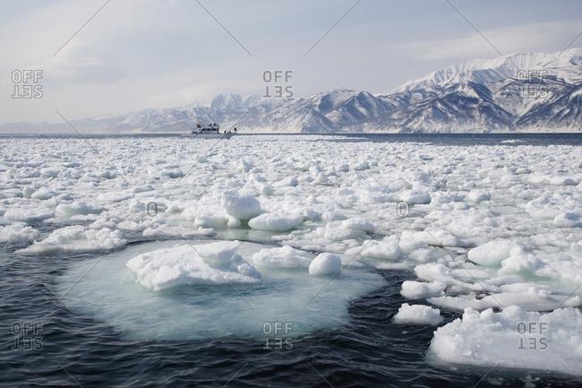 Floating Pack Ice, Nemuro Channel, Hokkaido, Japan