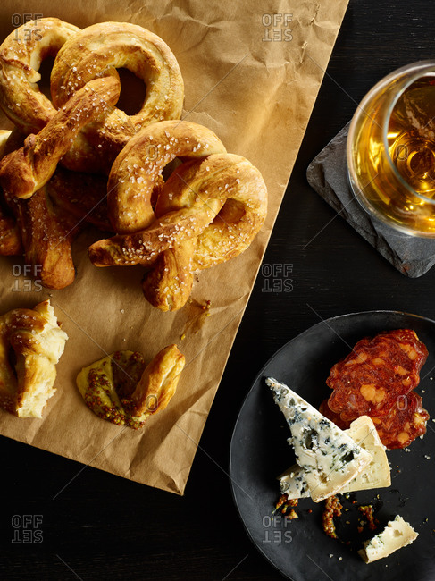 Fresh pretzels, gourmet cheese and a glass of beer