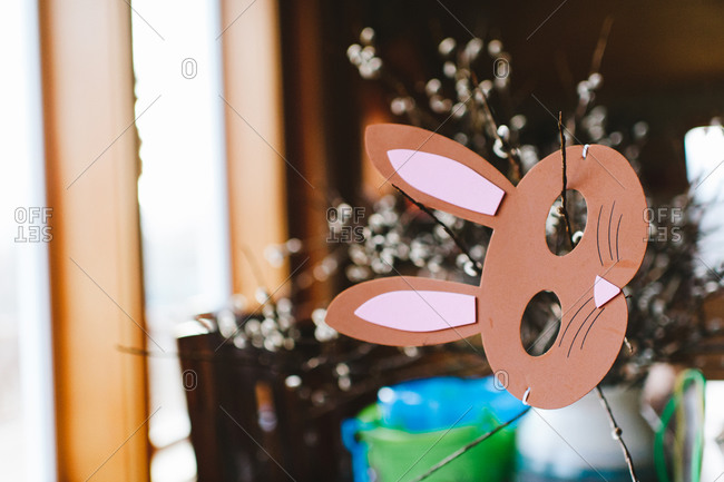 Close-up of a child's bunny mask