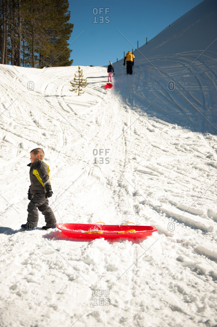 Children sledding on a hill in winter