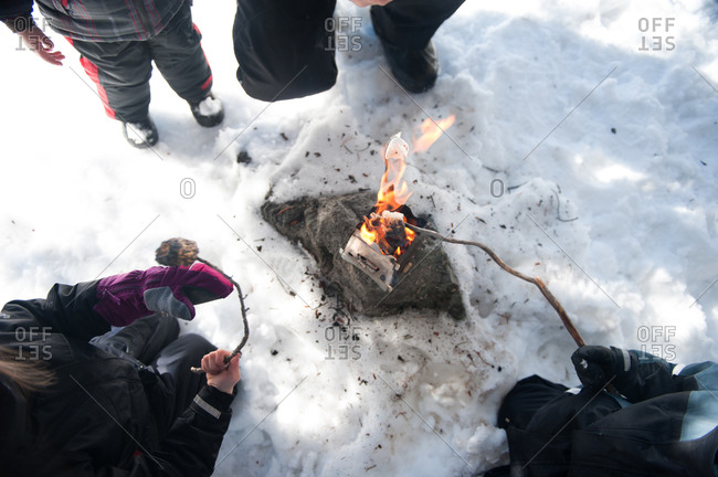 Family roasting marshmallows in the winter