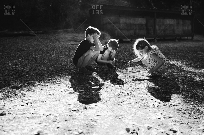 Children examining nature with a magnifying glass