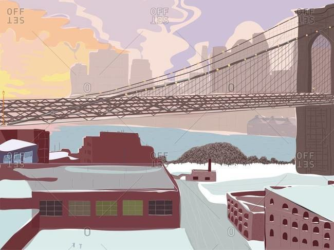 View of Dumbo in winter in Brooklyn, New York