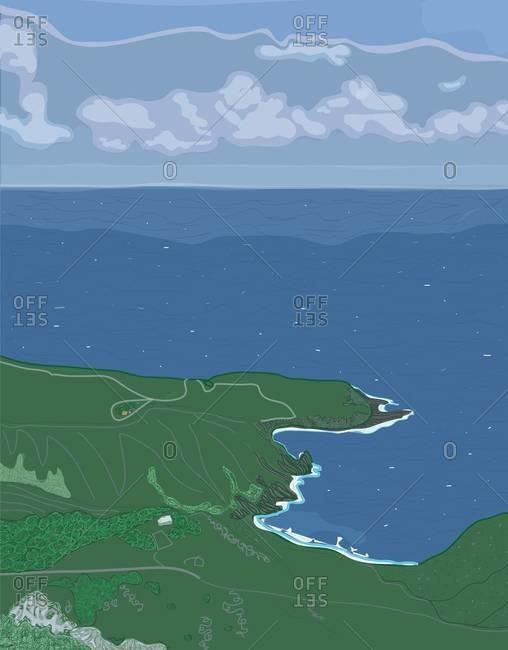 Coastline of the Caribbean island of Saba