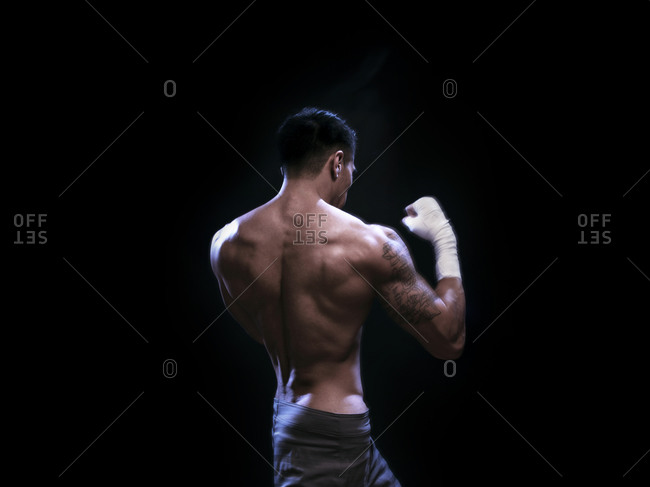 Male athlete in boxing stance