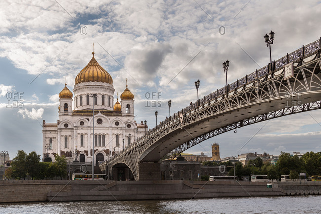 Bridge and cathedral in Moscow, Russia