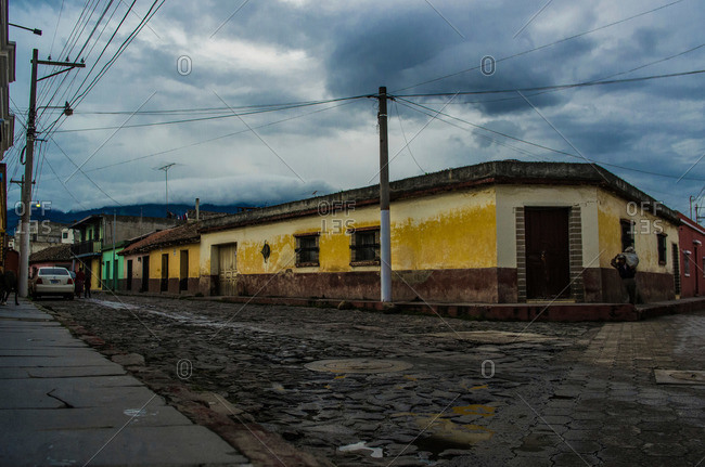 Quiet street corner in Quetzaltenango, Guatemala